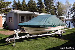 Boat covered for winter